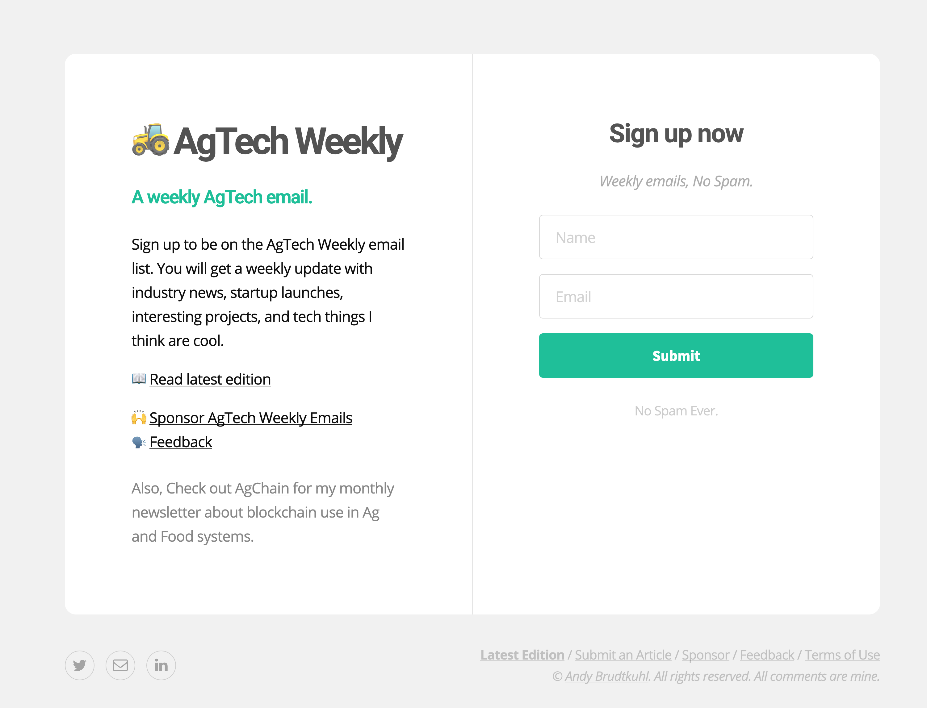 https://agtech.email screenshot